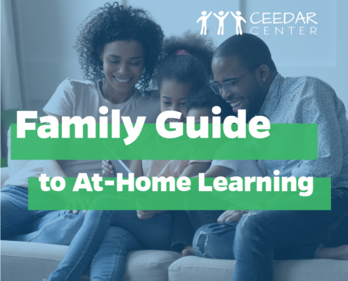 "family sitting at couch with ""Family Guide to at-home learning"" title"