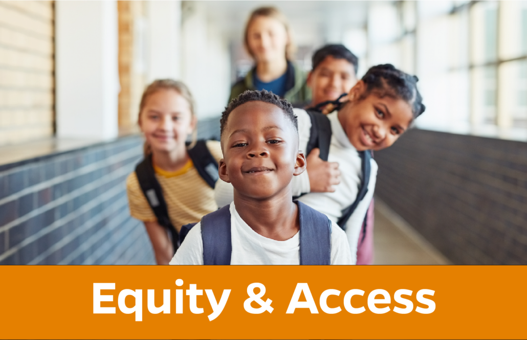Equity and Access: diverse group of students wearing backpacks
