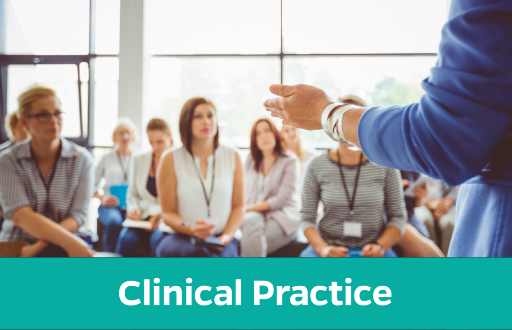 Clinical practice: Woman teaching a group of adults
