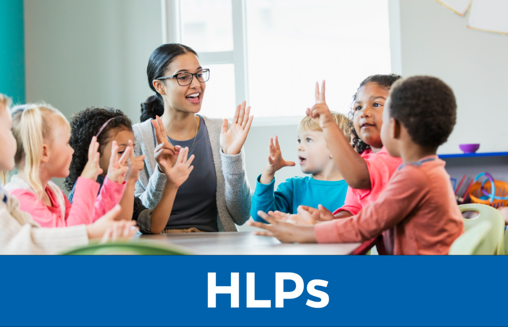 HLPs: Teacher sits with young students
