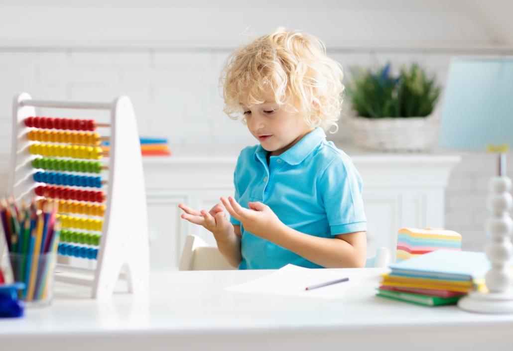 Child doing homework after school.